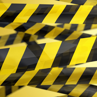 Caution tapes, anti-slip tapes, chains and posts for a plastic chain