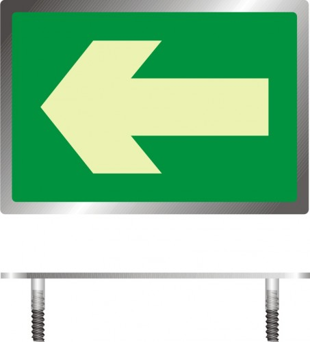 The direction of the escape route – floor marker for openwork construction