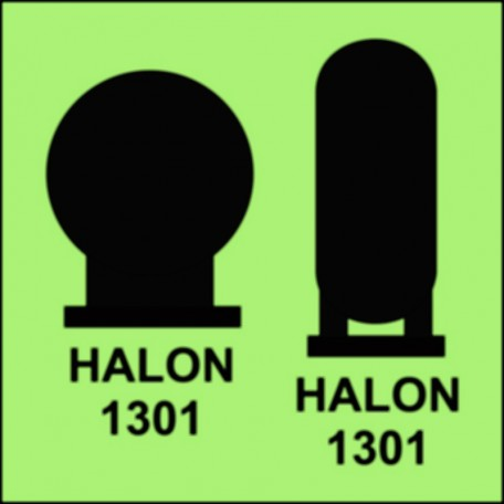 Halon 1301 bottles placed in a protected area