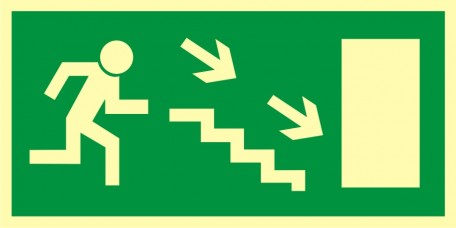 Direction to leave an escape route down the stairs to the right