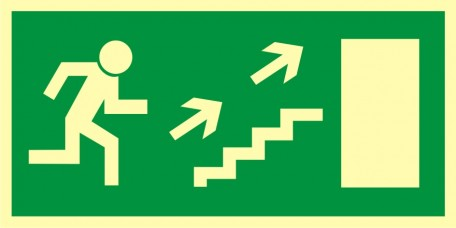 Direction to leave an escape route up the stairs to the right