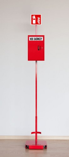 Stand for fire extinguisher 4kg or 6kg  with a mast and locker for a fire blanket