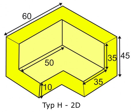 Corner protection angle for elastic Warning- and Protecting Profiles type H 2D