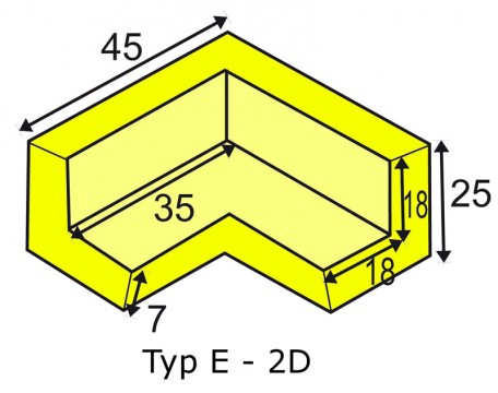 Corner protection angle for elastic Warning- and Protecting Profiles type E 2D