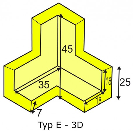 Corner protection angle for elastic Warning- and Protecting Profiles type E 3D