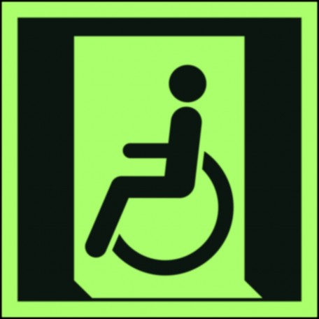 Emergency exit for people unable to walk or with walking impairment (left)