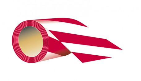 self-adhesive tape to the floor, length 33 m x width 10 cm white-red