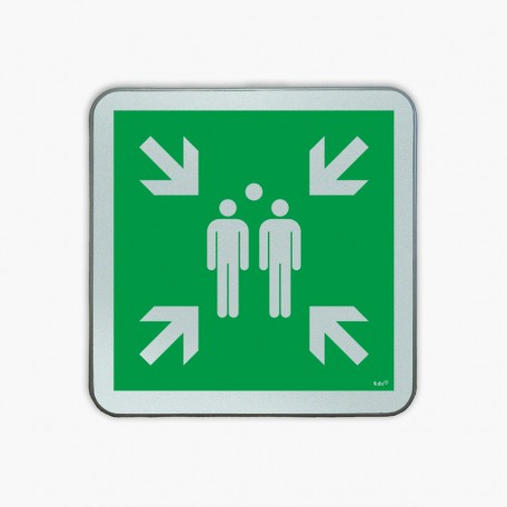 Evacuation assembly point- road sign